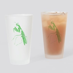 Distressed Green Preying Mantis Drinking Glass