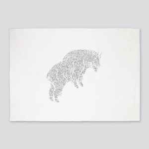 Distressed Grey Mountain Goat 5'x7'Area Rug