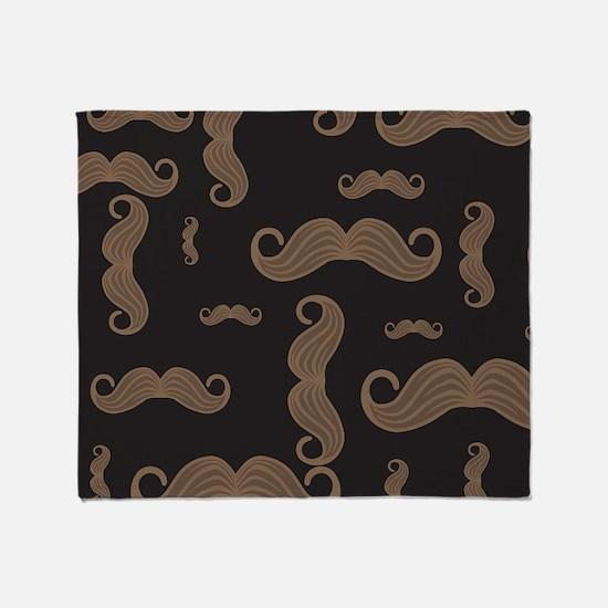 Retro Moustache Pattern Throw Blanket