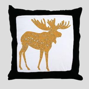 Distressed Brown Moose Throw Pillow