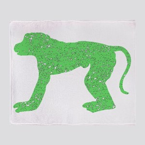 Distressed Green Baboon Throw Blanket