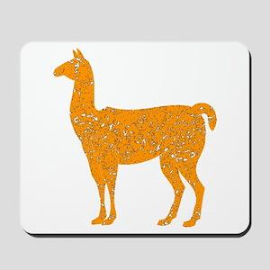 Distressed Orange Llama Mousepad