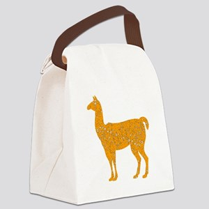 Distressed Orange Llama Canvas Lunch Bag