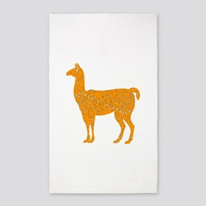 Distressed Orange Llama Area Rug