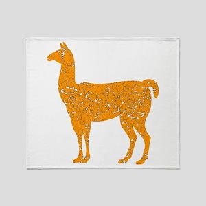 Distressed Orange Llama Throw Blanket