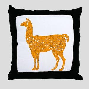Distressed Orange Llama Throw Pillow