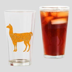 Distressed Orange Llama Drinking Glass