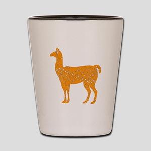 Distressed Orange Llama Shot Glass