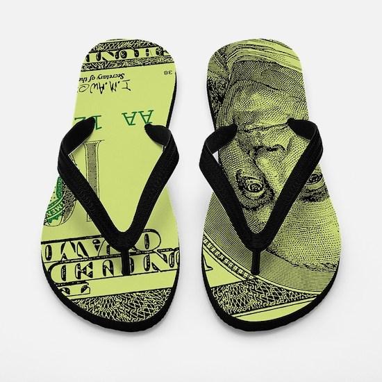 Funny Benjamin franklin Flip Flops