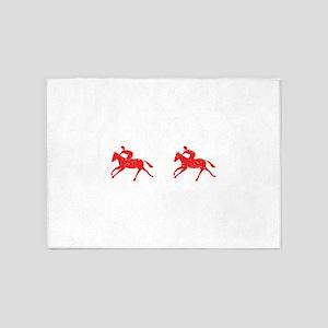 Distressed Red Horseback Riders 5'x7'Area Rug
