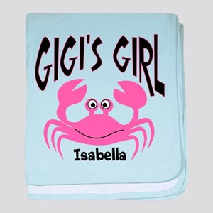 Pink Crab Gigis Girl Personalized baby blanket