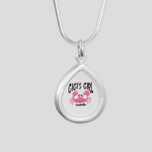 Pink Crab Gigis Girl Per Silver Teardrop Necklace