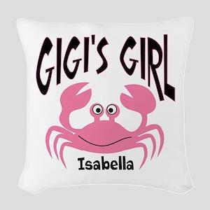 Pink Crab Gigis Girl Personali Woven Throw Pillow