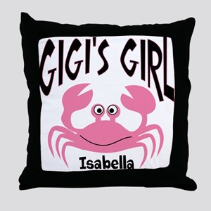 Pink Crab Gigis Girl Personalized Throw Pillow