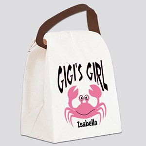 Pink Crab Gigis Girl Personalized Canvas Lunch Bag