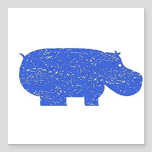 """Distressed Blue Hippopotamus Square Car Magnet 3"""""""