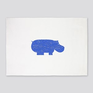 Distressed Blue Hippopotamus 5'x7'Area Rug