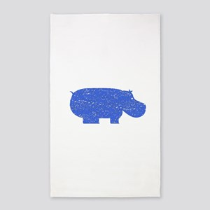 Distressed Blue Hippopotamus Area Rug