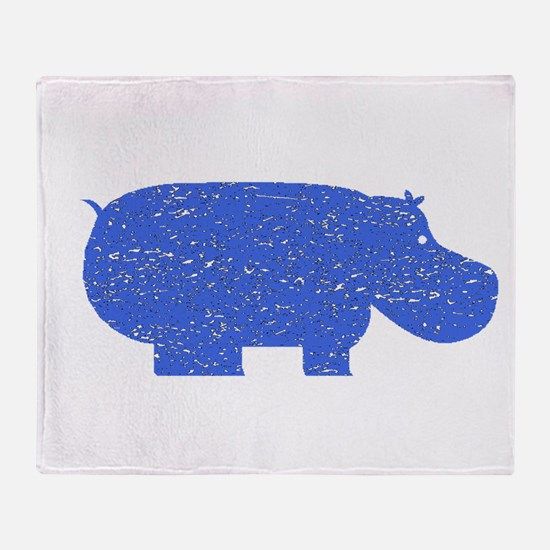 Distressed Blue Hippopotamus Throw Blanket