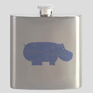 Distressed Blue Hippopotamus Flask