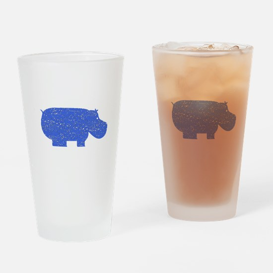 Distressed Blue Hippopotamus Drinking Glass