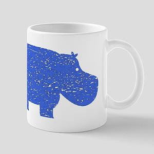 Distressed Blue Hippopotamus Mugs