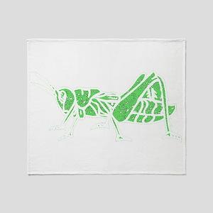 Distressed Green Grasshopper Throw Blanket