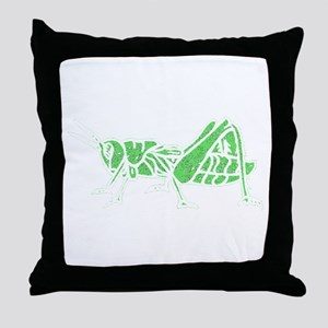 Distressed Green Grasshopper Throw Pillow