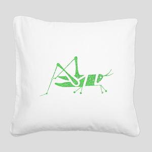 Distressed Green Grasshopper Square Canvas Pillow
