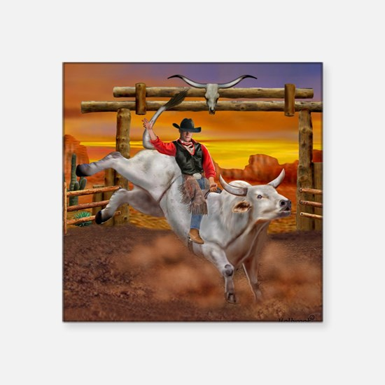 "Ride 'em Cowboy Square Sticker 3"" x 3"""