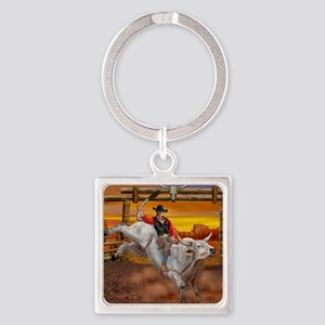 Ride 'em Cowboy Square Keychain