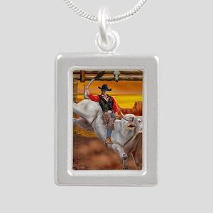 Ride 'em Cowboy Silver Portrait Necklace