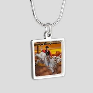 Ride 'em Cowboy Silver Square Necklace
