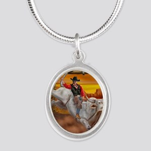 Ride 'em Cowboy Silver Oval Necklace