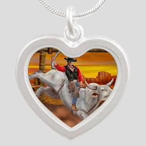 Ride 'em Cowboy Silver Heart Necklace