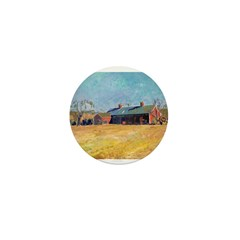 Country Red Barn Mini Button