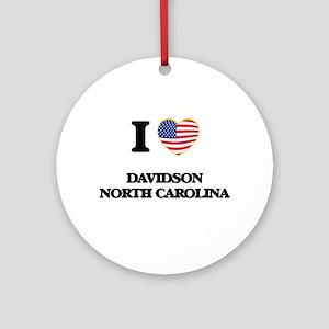 I love Davidson North Carolina Ornament (Round)