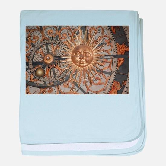 Astrological clockface baby blanket