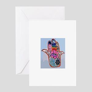 Hamsa With Buddhism Greeting Cards