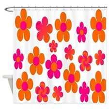 Hot pink and orange floral Shower Curtain