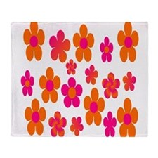 Hot pink and orange floral Throw Blanket