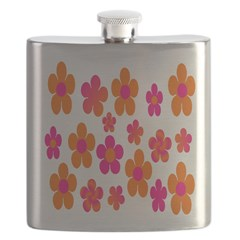 Hot pink and orange floral Flask