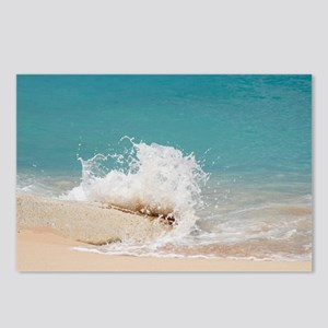 Waves hitting rock at bai Postcards (Package of 8)