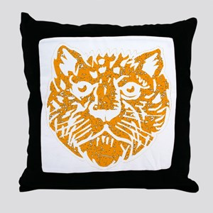 Distressed Orange Leopard Face Throw Pillow
