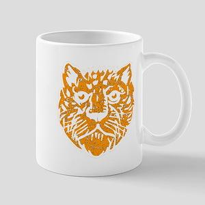 Distressed Orange Leopard Face Mugs