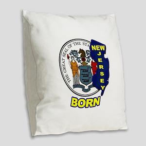 NEW JERSEY BORN Burlap Throw Pillow