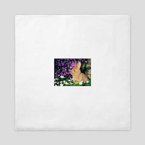Bunny in Flowers Queen Duvet