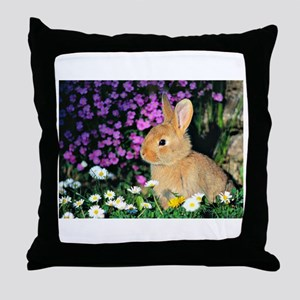 Bunny in Flowers Throw Pillow