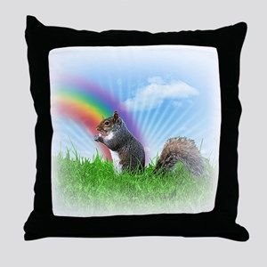 Squirrel With Rainbow Throw Pillow