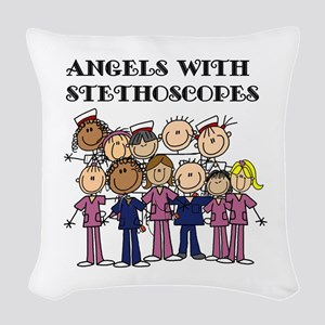 Angels With Stethoscopes Woven Throw Pillow